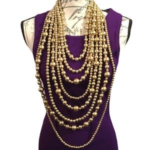 Jewelry - Long Gold Multi Strand Pearl Statement Necklace